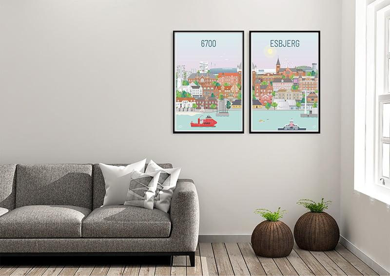 Esbjerg plakater fra Vilakula med sort ramme
