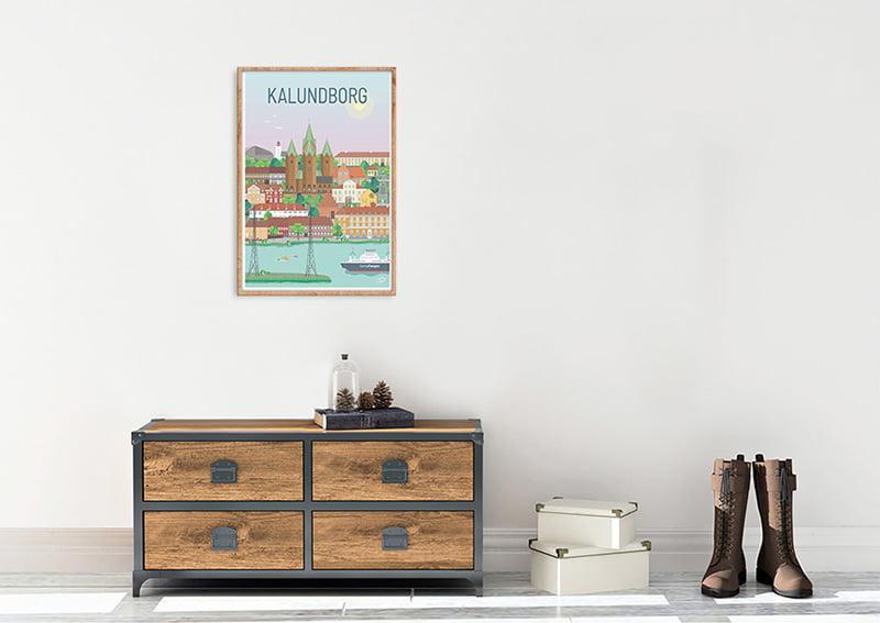 Kalundborg plakaten med egetræs ramme