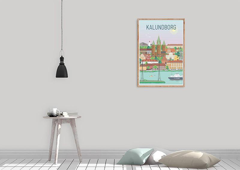 Kalundborg plakaten med ramme i egetræ