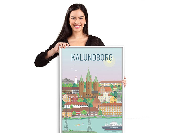 Kalundborg byplakat med hvid ramme