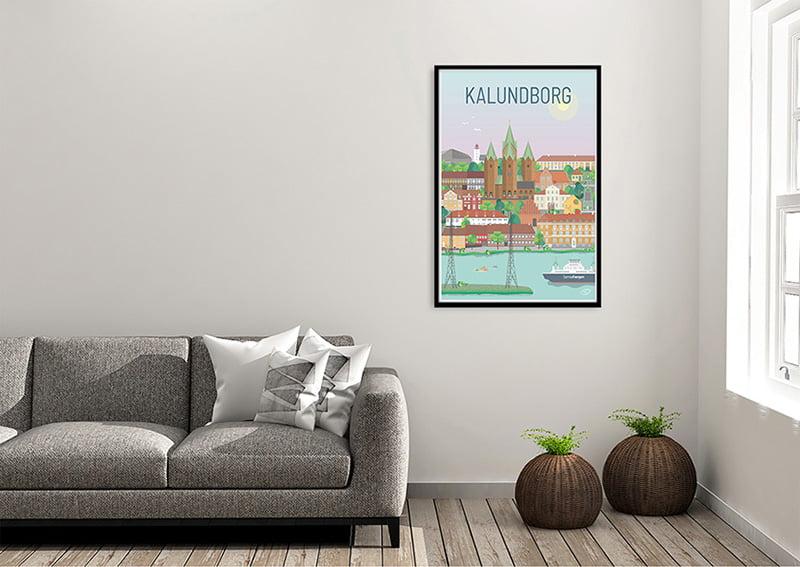 Kalundborg Plakat Sort ramme