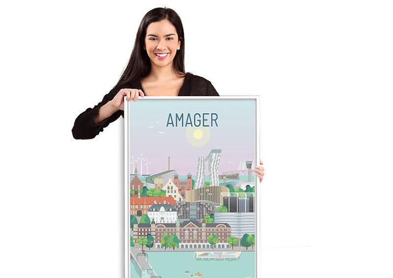 Amager Plakat Hvid 10